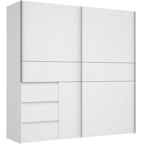 Armoire 2 portes coulissantes 3 tiroirs - Blanc - L 200,1 x P 61,2 x H 200,5 cm - WINN2