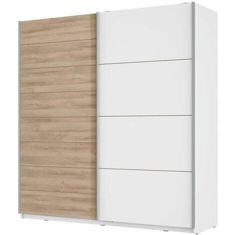 Armoire 2 portes coulissantes - Decor chene blanchi et blanc mat - L 200,1 x P 61,2 x H 209,7 cm - JAWA