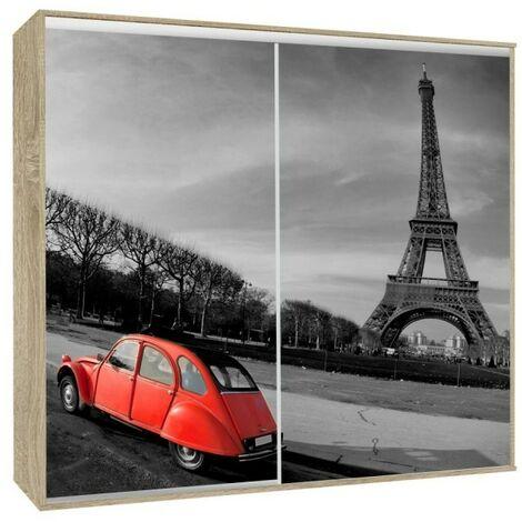 Armoire 2 portes coulissantes Loppee largeur 155 cm décor Paris - Chêne