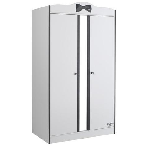 Armoire 2 portes pour chambre Fille Noire et Blanche - Dim : L 98 x H 189 x P 58 cm