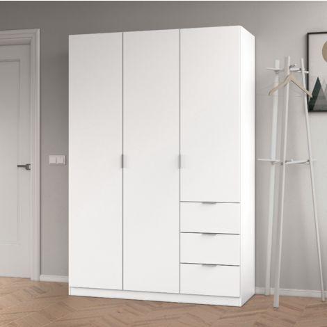 Armoire 200 cm Blanc mat avec trois portes et trois tiroirs | Blanc