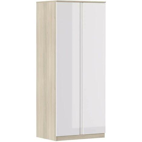 Armoire 80x190H cm Blanc brillant et chêne avec deux portes série Oslo | chêne et blanc