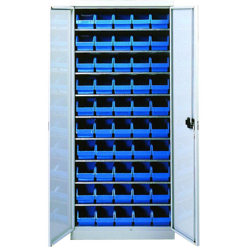 Armoire 9 tablettes avec portes équipée de bacs 2L - 5201312