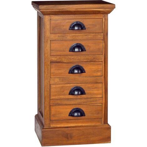 Armoire à 5 tiroirs 35x30x60 cm Bois de teck solide