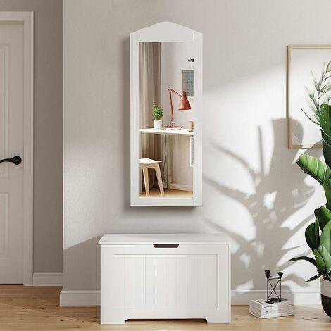 Armoire à Bijoux, Armoire de Rangement Mural, avec Miroir, Blanc JBC83W