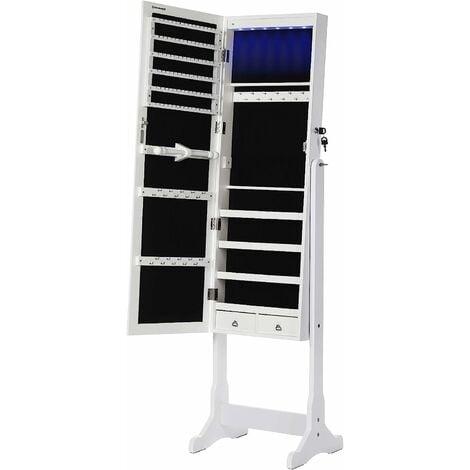 Armoire à bijoux armoire de rangement sur pieds avec serrure et LED JBC94W - Blanc