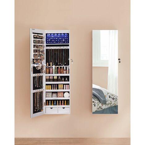 Armoire à Bijoux avec Long Miroir,Coffre à Bijoux avec 6 Lampes LED, Suspendue à la Porte ou fixée au Mur, Grande capacité, 2 Tiroirs, Blanc JJC99WT