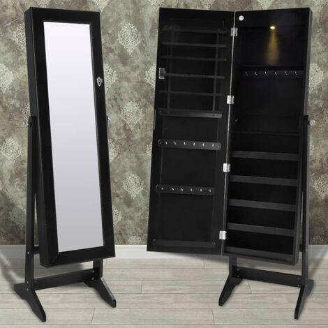 Armoire à bijoux avec lumière LED et porte à miroir Noir