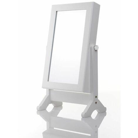 Armoire à bijoux avec miroir inclinable - Blanc - Rangement bijoux