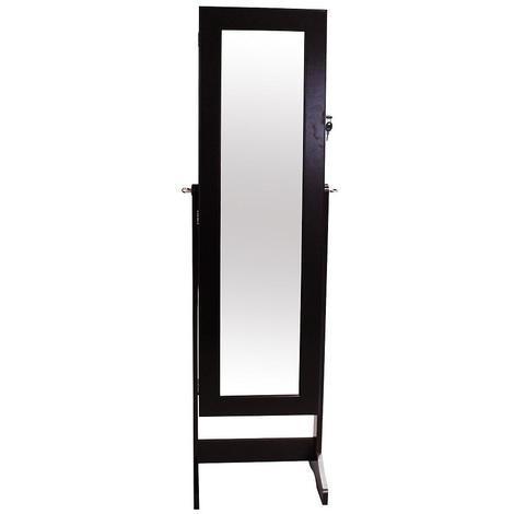 Armoire à Bijoux avec Miroir, Miroir de Rangement, 120 x 38 x 9 cm, Marron, Support au sol, Matériau: Verre, Velours
