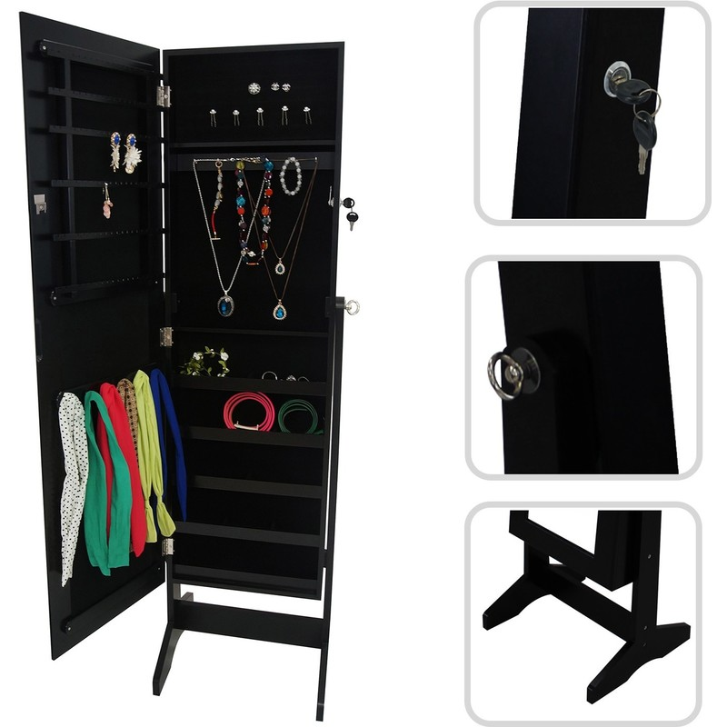 Armoire à Bijoux avec Miroir, Miroir de Rangement, 120 x 38 x 9 cm, Noir,  Support au sol, Matériau: MDF, Verre