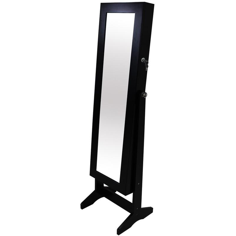 Armoire à Bijoux avec Miroir, Miroir de Rangement, 120 x 38 x 9 cm, Noir,  Support au sol, Matériau: Verre, Velours