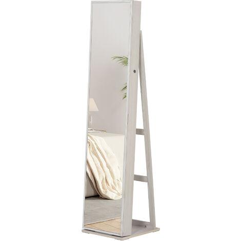 Armoire à bijoux avec miroir sur pied multi-rangements éclairage LED blanc dim. 38L x 38l x H157 cm