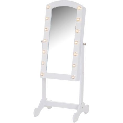Armoire à bijoux avec miroir sur pied multi-rangements inclinaison réglable éclairage LED dim.32L x 29l x 81H cm blanc