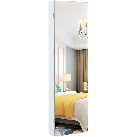 Armoire à bijoux avec miroir suspendu 120 cm blanc - Blanc