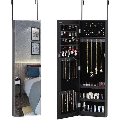 Armoire à Bijoux - Montage sur porte/Armoire à Bijoux Murale avec ou sans Lumière LED 31,5 x 9 x 110 cm