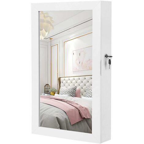 Armoire à bijoux murale miroir 67 cm blanc - Blanc