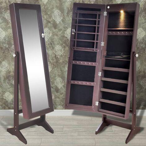 Armoire à bijoux sur pied avec miroir et éclairage LED Brun