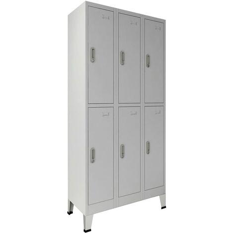 Armoire à casiers avec 6 compartiments Acier 90x45x180 cm Gris