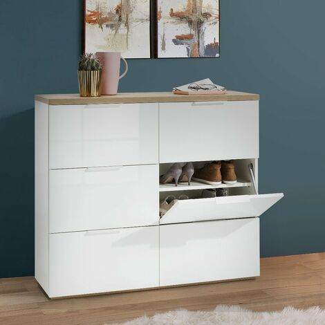 Armoire A Chaussures 6 Tiroirs A Rabat Couleur Blanc Lucide 24 Chaussures Bs3491k64904