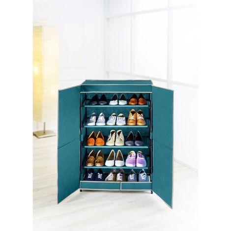 Armoire à chaussures en tissus - 15 paires - 61 x 90 cm - Bleu