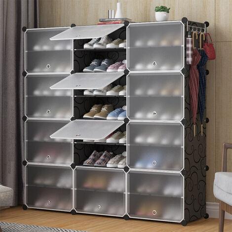 Armoire à Chaussures Meuble à Chaussures Etagère Avec Portes Plastique 24 Cubes Facile à Monter Etagère de Rangement Pratique