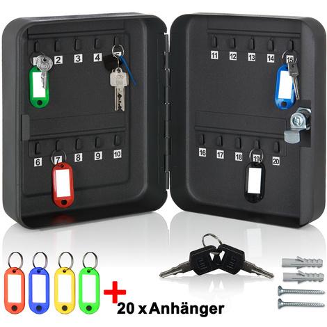 Armoire à clés en acier avec 20 crochets et 20 porte-clés