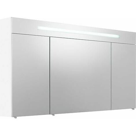 Armoire a glace 3 portes blanc brillant eclairage avec cache 1200 x 740 x 160 mm