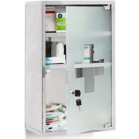 Armoire à médicaments pharmacie métal et verre avec deux clés 50,5 x 30 cm