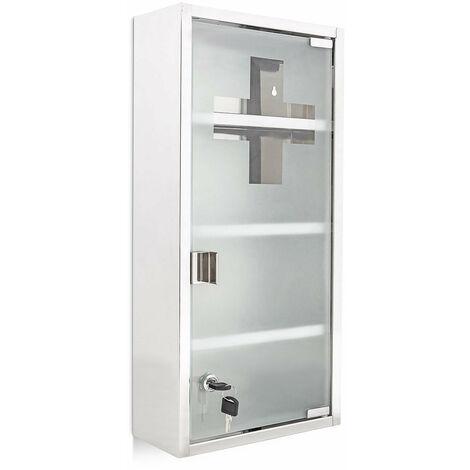 Armoire à médicaments pharmacie métal et verre avec deux clés 57 x 27 cm