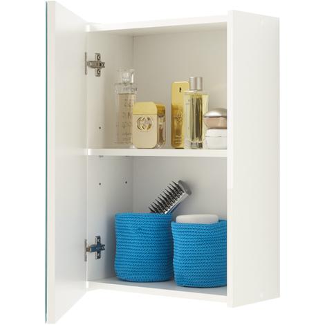 Armoire à miroir pour salle de bains coloris blanc - Dim : L 40 x H 61,5 x P 20,5 cm
