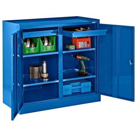 Armoire à outils - avec paroi médiane, 2 tiroirs, 4 tablettes - bleu gentiane RAL 5010