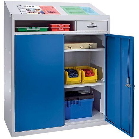 Armoire à outils avec pupitre - h x l x p1220 x 915 x 457 mm - gris clair / bleu gentiane - Col. pupitre: gris clair Col. façade: Bleu foncé