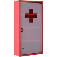 Armoire à pharmacie 3 étagères 4 niveaux verrouillable porte verre trempé dépoli logo croix 30L x 12,5l x 60H cm acier inox rouge
