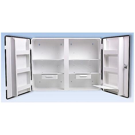 Armoire à pharmacie conforme à la norme DIN 13169 - à 2 portes, blanc, h x l x p 462 x 604 x 170 mm - sans contenu