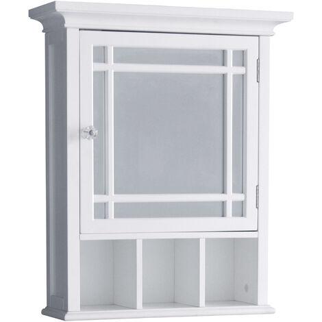 Armoire à pharmacie de salle de bain en bois avec miroir blanc Neal Elegant Home Fashions 7442