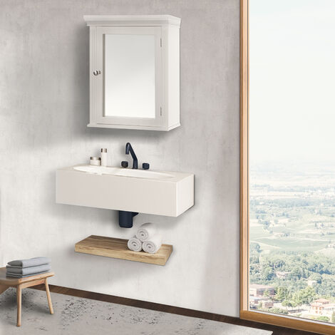 Armoire à pharmacie de salle de bain en bois avec miroir blanc Stratford Elegant Home Fashions 6544