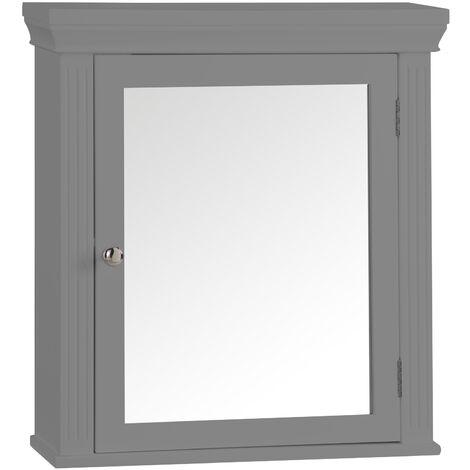 Armoire à pharmacie de salle de bain en bois avec miroir gris Stratford Elegant Home Fashions 6544