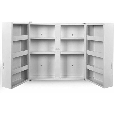 """main image of """"Armoire à pharmacie murale 53 x 53 cm 2 portes serrure blanc meuble à pharmacie armoire médicaments, salle de bains - Blanc"""""""