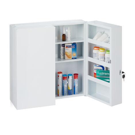 Armoire à pharmacie XXL, buffet médicaments à deux portes, en acier, 11 casiers, verrouillable,53x52,5cm.blanc