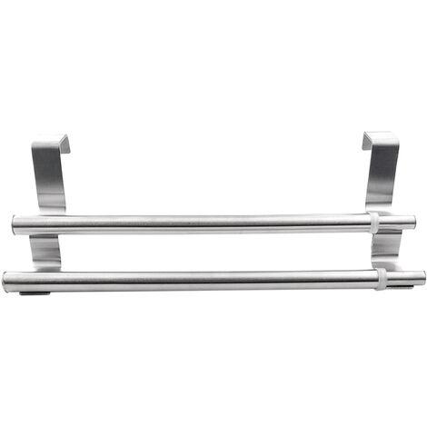 Armoire a porte escamotable en acier inoxydable argente suspendue porte-serviettes a double barre (26,5-40 cm)