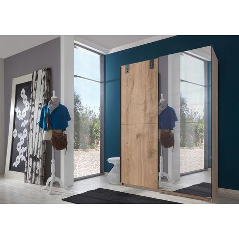 Armoire à portes coulissantes avec miroir en Imitation chêne poutre, rechampis graphite - L135 x H198 x P64 cm -PEGANE-