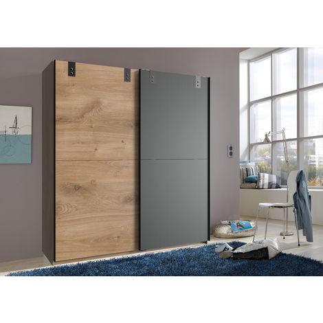 Armoire à portes coulissantes en Imitation chêne poutre, rechampis graphite - L180 x H198 x P64 cm -PEGANE-
