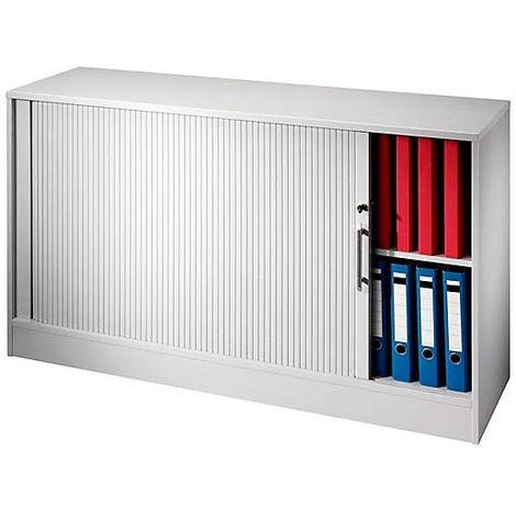 Armoire à rideau vertical - 1 tablette de chaque côté, 1 cloison médiane - blanc | V1732S/W/S/KB
