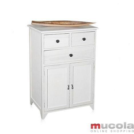Armoire à tiroirs, étagère desserte armoire de salle de bains, vintage chic,armoire latérale en bois blanc