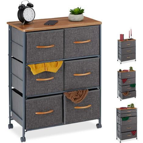 Armoire à tiroirs sur roulettes, Tiroirs en tissu, Commode décorative, plaque effet bois, gris