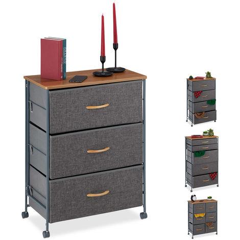 Armoire à tiroirs sur roulettes,Tiroirs en tissu, Commode décorative, plaque effet bois, HlP74,5x58x30cm gris