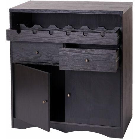 Armoire à vin HHG-214, casier à bouteilles, en bois, 89x80x40cm ~ aspect chêne-noir