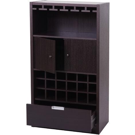 Armoire à vin HHG-216, casier à vin, armoire de bar, porte-bouteilles, en bois, 120x62x35cm ~ brun expresso