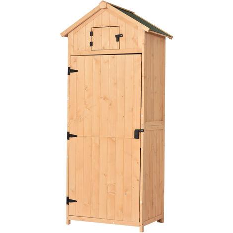 Armoire abri de jardin remise pour outils 3 étagères 2 porte loquets toit pente bitumé 77L x 54l x 179H cm pin massif traité